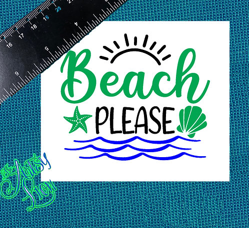 Beach Please 3 color decal