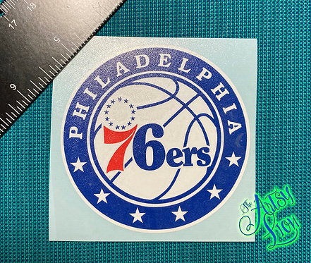 Philadelphia 76ers logo decal, layered white, blue, red