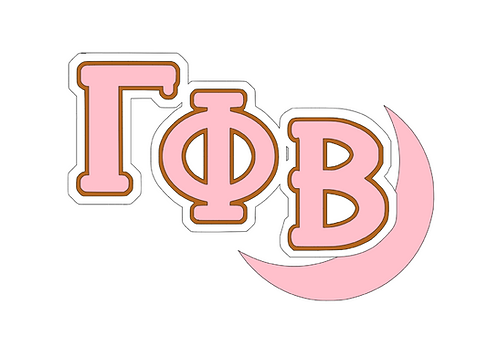 Gamma Phi Beta with moon, Lil' Sis, or Big Sis logo layered in pink, yellow, brown, white.
