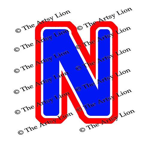 Nu Greek letter 3 color/3 layers