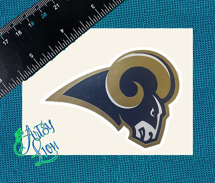 Los Angeles LA Rams logo layered in navy, gold and white