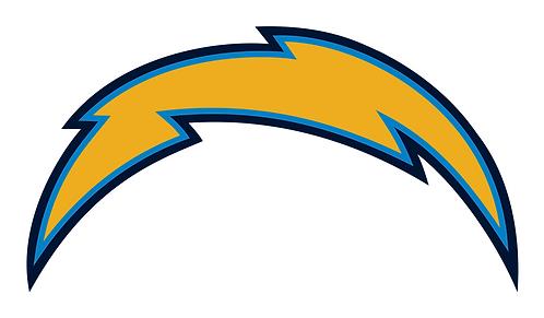 Los Angeles Chargers (older logo), lightning bolt, blue, light blue, navy blue