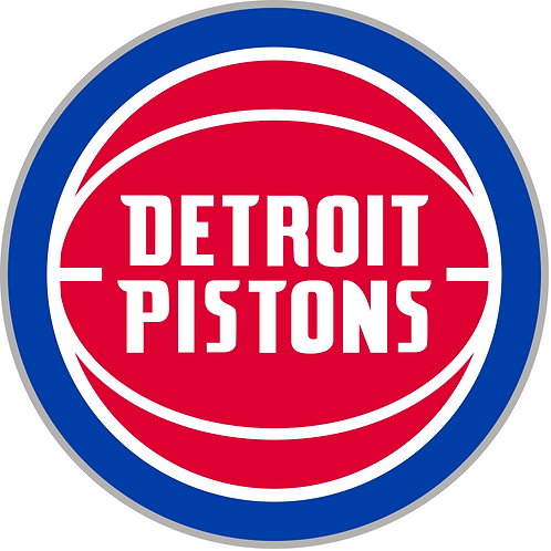 Detroit Pistons, locog circle with basketball, blue, red, white
