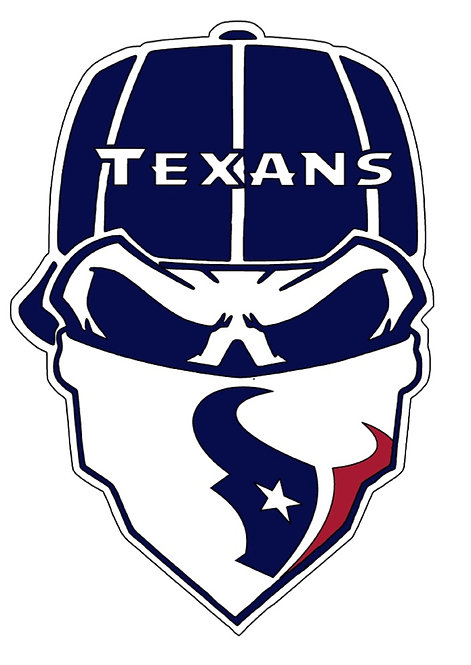 Houston Texans Skull Baseball cap layered decal navy, white and red