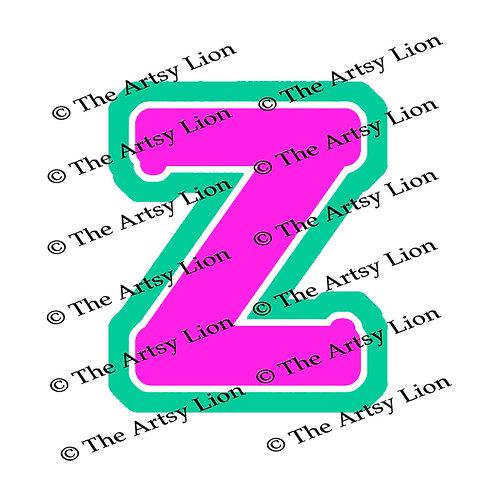 Zeta Greek letter 3 color/3 layers