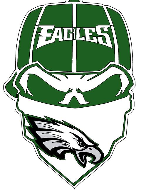 Philadelphia Eagles Skull Baseball cap layered decal Green and white