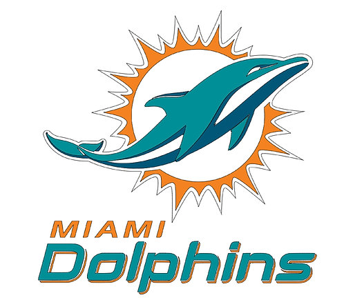 Miami Dolphins layered sticker decal, teal, yellow, orange, grey