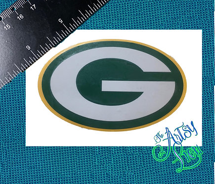 Green Bay oval decal, layered in white, green and yellow