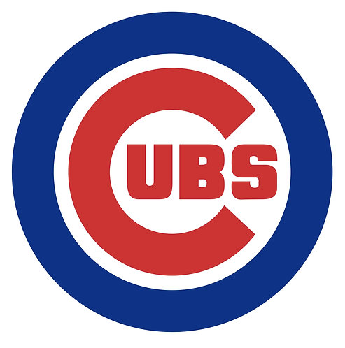 Chicago Cubs circle logo, blue, red, white