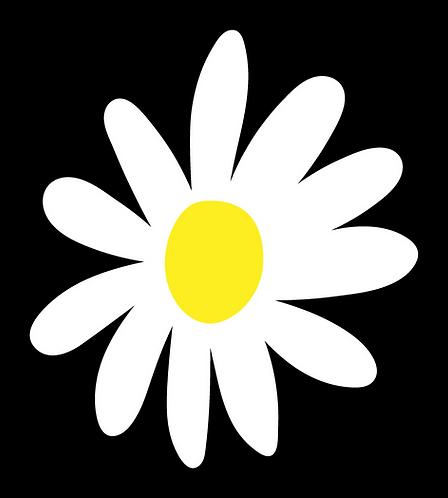Daisy flower, black, white, yellow 3 layer decal sticker