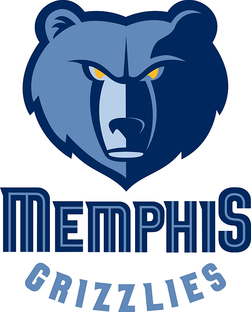 Memphis Grizzlies layered sticker decal, grey, blue, navy