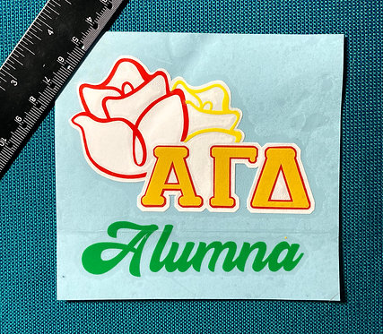 Alpha Gamma Delta Alumna with rose layered decal