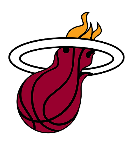 Miami Heat layered sticker decal, flaming basketball, hoop, red, white, yellow