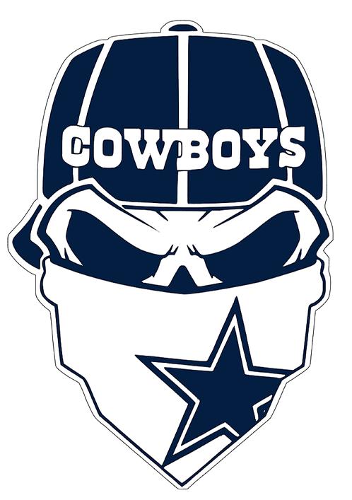 Dallas Cowboys Skull Baseball cap layered decal Blue and white