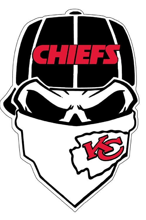 Kansas City chiefs black, red and white, skull mask