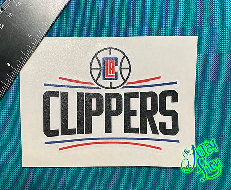 LA Clippers layered vinyl with black, red, and blue