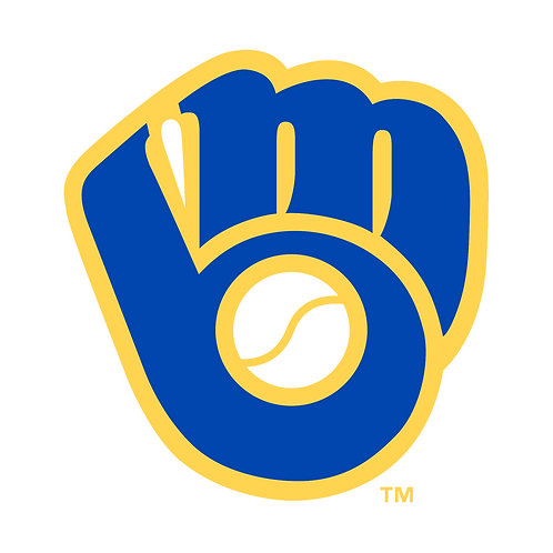 Milwaukee Brewers logo, baseball mitt, baseball, blue, yellow