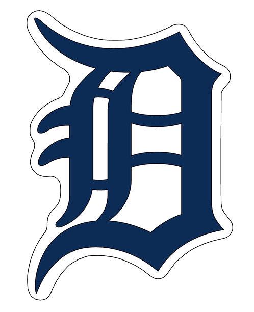 Detroit Tigers, large fancy D, navy, white