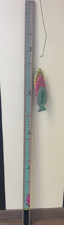 Fishing pole growth stick with fishes, teal, pink, grey and yellow