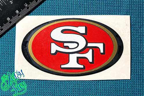 49ers San Francisco oval decal in red, gold, white and black