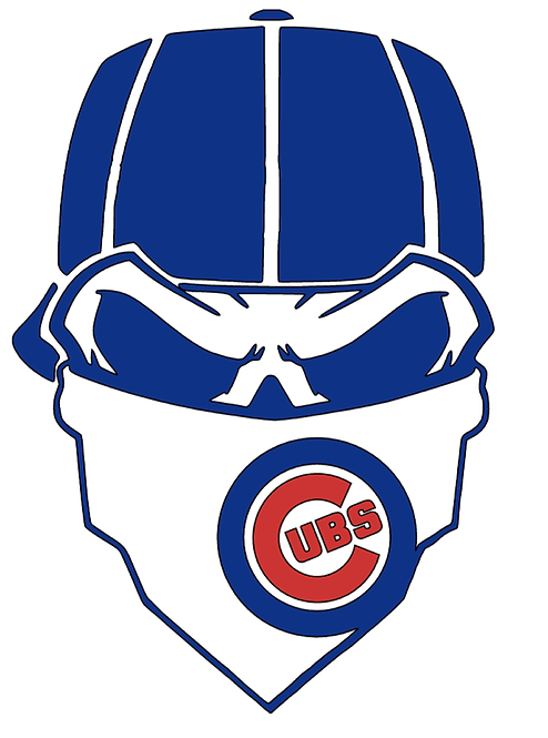 Chicago Cubs Skull Baseball cap layered decal Blue, white and red