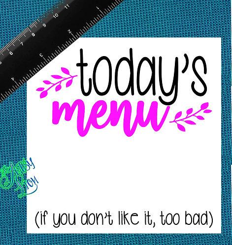 Today's Menu  1 layer