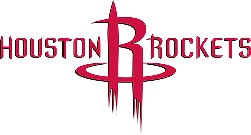Houston Rockets, R with basketball, red and black