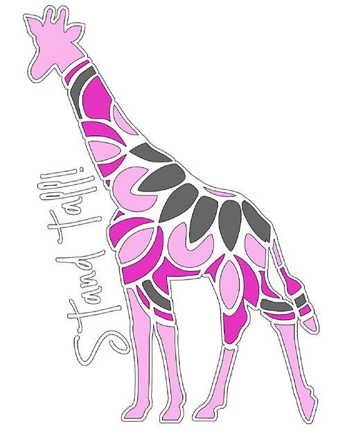 Giraffe mandala stand tall decal in 4 colors white base