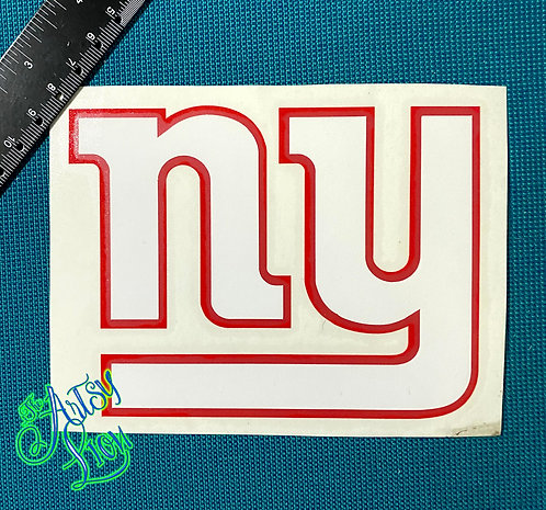 New York Giants white on red decal
