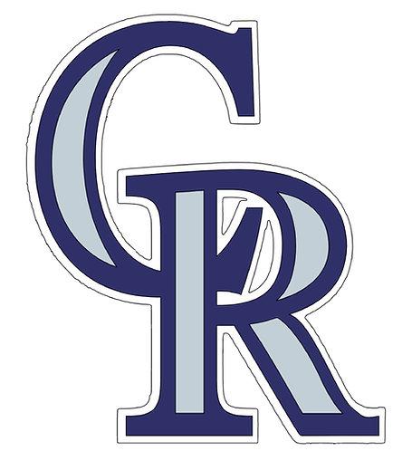 Colorado Rockies, large CR, purple, grey, white