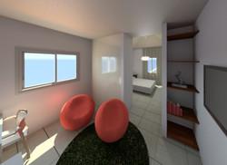 מבט לחדר שינה חדש דרך חדר עבודה