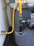 Gas drip leg & safety emergency shut off valve with water heater installation