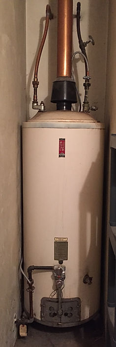 photo of broken water heater