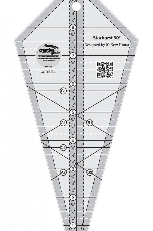 "Creative Grids Ruler Starburst 30 Degree Triangle 9.5"""