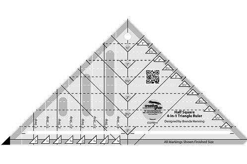 Creative Grids Ruler Half-Square 4 in 1 Triangle