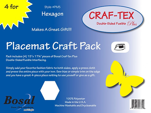 """Placemat Craft Pack 15"""" X 17.25"""" Hexagon 4 pack"""