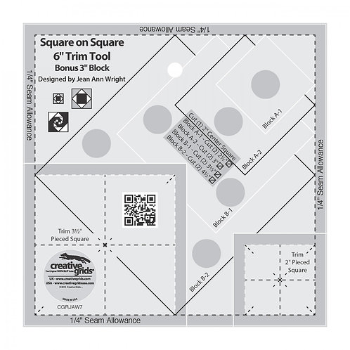 """Creative Grids Ruler Square on Square Trim Tool 3"""" Or 6"""""""