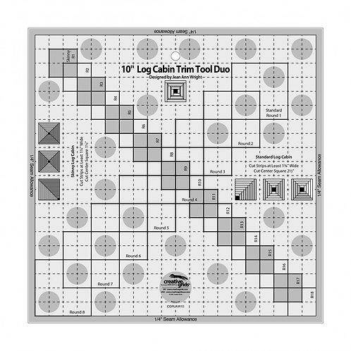 """Creative Grids Ruler 10"""" Log Cabin Trim Tool Duo"""
