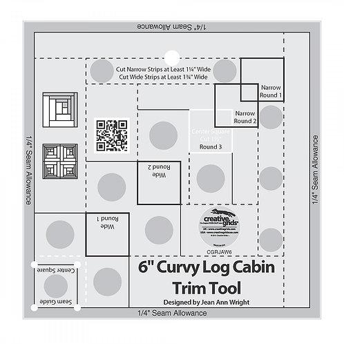 "Creative Grids Ruler Curvy Log Cabin Trim Tool 6"""