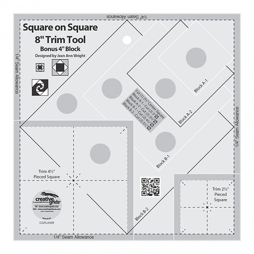 """Creative Grids Ruler Square on Square Trim Tool 4"""" Or 8"""""""