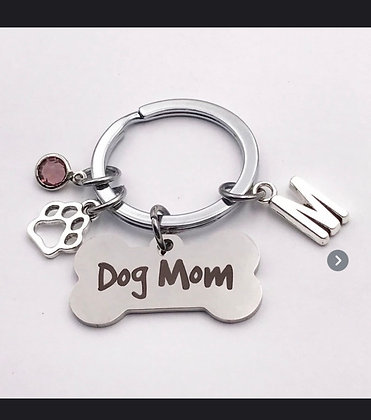 Dog Mom Keychain (bone)
