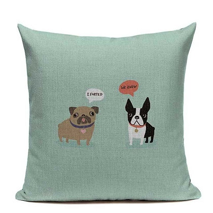 (Boston y Pug) Pillow Cover