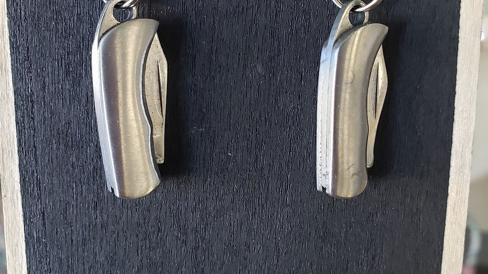 miniature pocket knife earrings