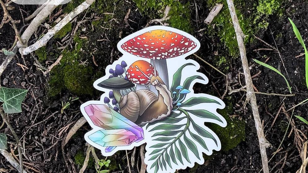 Snail crystal shroom sticker