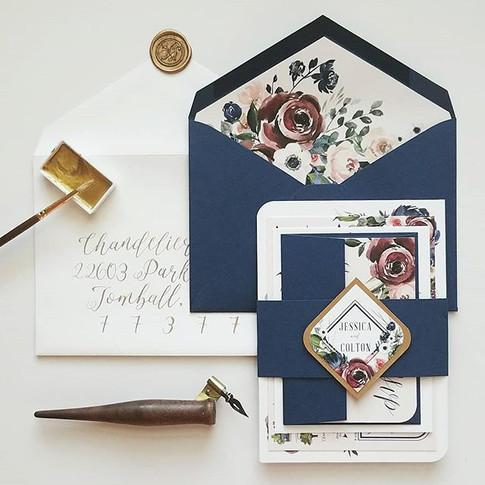 Wedding Invitation Suite Stationery Gold Calligraphy Navy Blush Burgundy