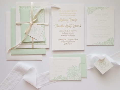 Wedding Invitation Suite Letterpress Mint + Ivory