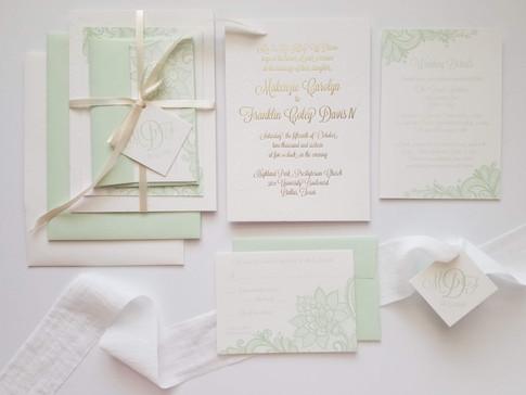 Wedding Invitation Suite Letterpress Mint + Ivory