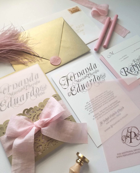 Wedding Invitation Stationery Blush & Gold