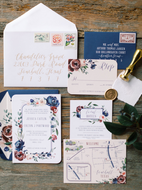 Wedding Invitation Suite Calligraphy Cotton Paper Wax Seal Map