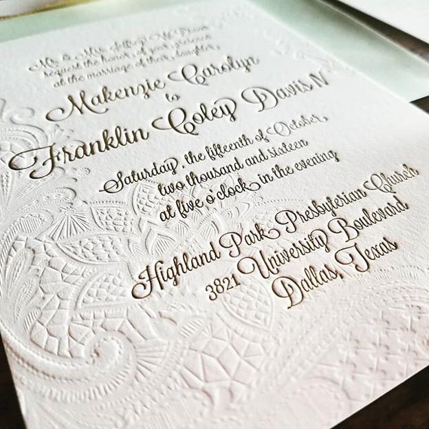 Wedding Letterpress Gold Foil Invitation